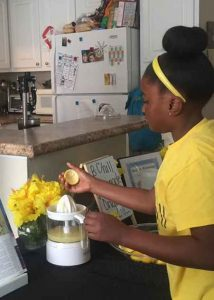 Kinyah making B Chill lemonade sample at home